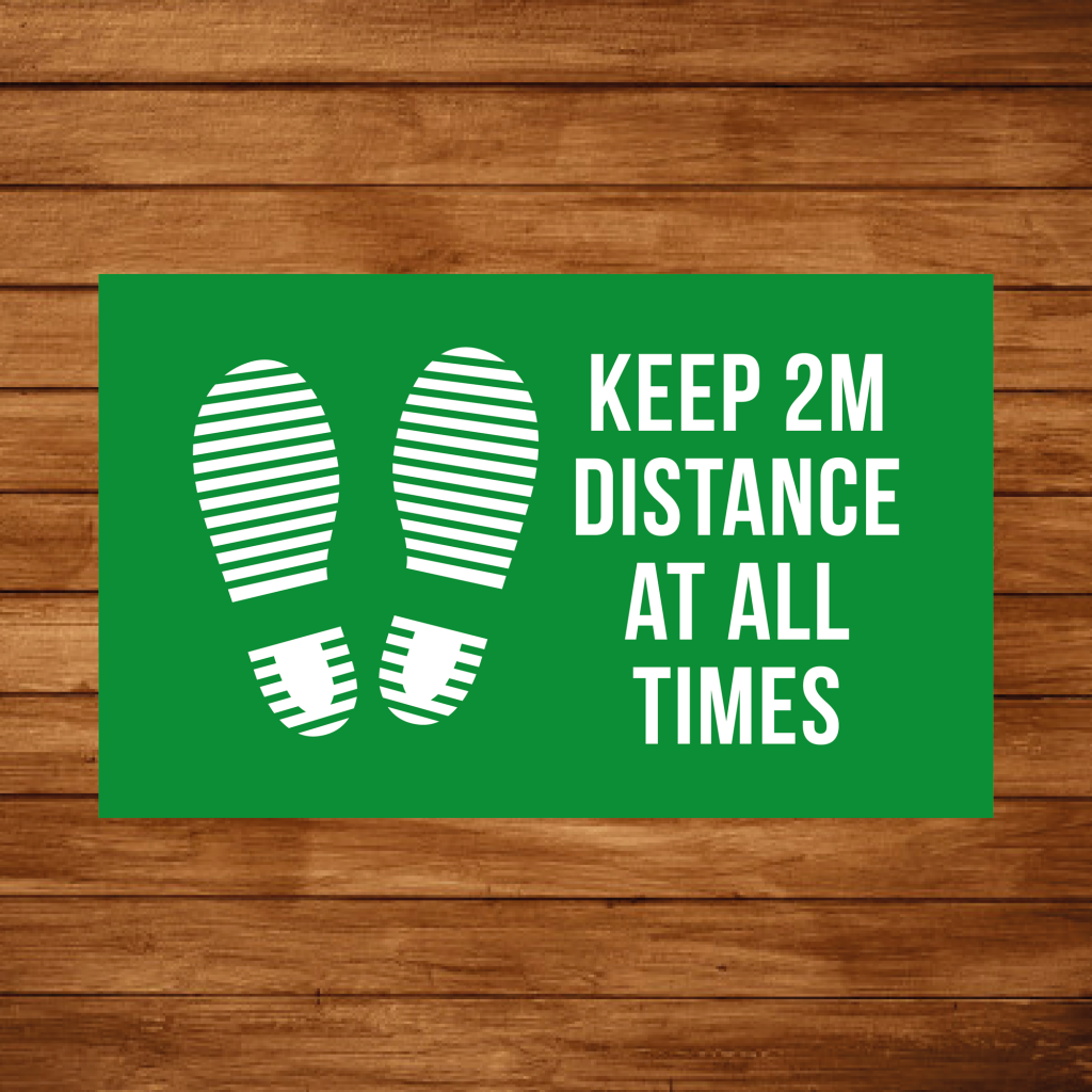 Social Distancing - Keep 2m distance rectangle floor graphic